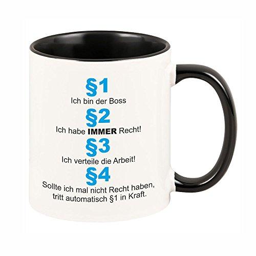 4you Design Tasse Ich Bin der Boss (Schwarze Tasse) Kaffeebecher - Geschirr Geschenkidee Geschenk Geburtstagsgeschenk ausgefallen originell