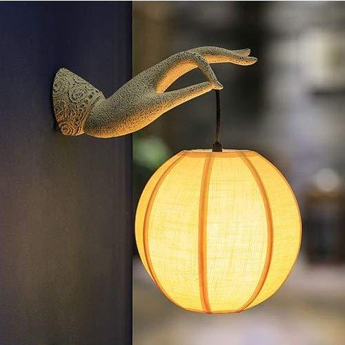 Moddeny Mano de Buda japonesa pared de la resina de la lámpara clásica dormitorio tradicional de noche iluminación con pantalla de la tela antigua de Zen Significado pared aplique de la luz E27 Socket