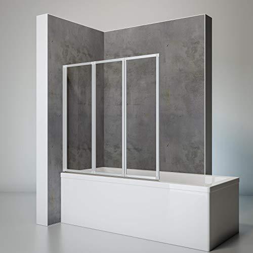 Schulte Duschwand Smart inkl. Klebe-Montage, 127 x 121 cm, 3-teilig faltbar, 3 mm Sicherheits-Glas klar, alu-natur, Duschabtrennung für Wanne