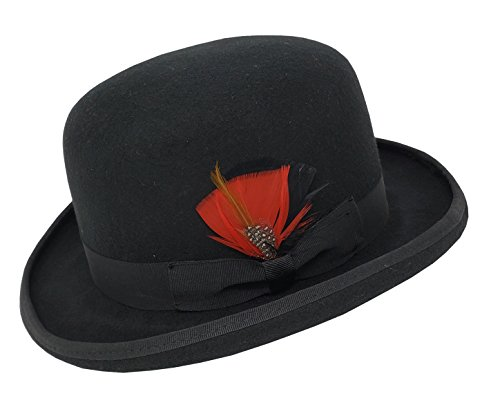 Different Touch Men's 100% Wool Felt Derby Bowler with Removable Feather Fedora Hats (S, Black)