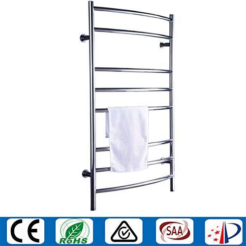 Mijogo Elektrische handdoekwarmer, 8 bar, roestvrij staal, plug-in vast bedrade handdoekwarmer voor badkamer, muur bevestigde verwarmde wasdroger, spiegel-polnisch, A