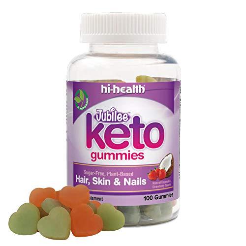 Jubilee Keto Sugar-Free Gummy for Hair, Skin & Nails, Ketogenic Vitamin, Biotin, Plant Based, Gluten-Free, Natural Coconut and Strawberry Flavor (100 Gummies)