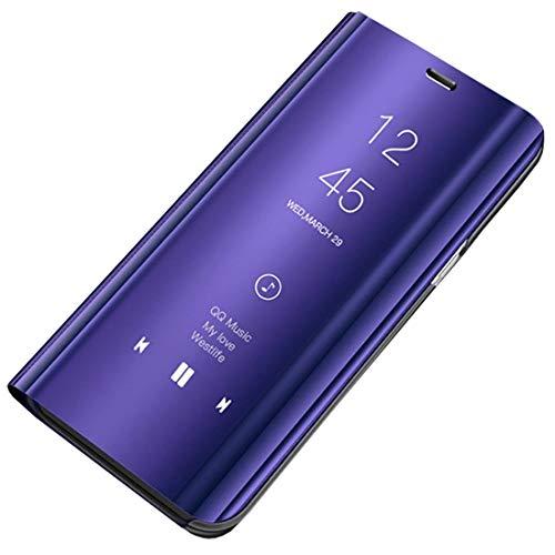 Ubeshine Galaxy A20 A30 Hülle, Galaxy A8s A9 2019 Handyhülle Spiegel Schutzhülle Flip Tasche Leder Hülle Cover Stand Feature Bumper Etui Flip Tasche für Samsung Galaxy A20/A30/A8s/A9 2019 (Lila)