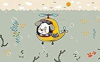 3D 壁画 潜水艦を運転する子犬 ポスター壁紙カスタムメイドデザインの壁画リビングルームホーム壁紙装飾-400X280cm (157X110inch)