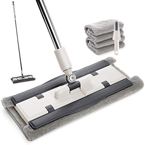 Microfiber Floor Mop for Floor Cleaning, Hardwood Floor Mop with 2 Washable Pads floor mop with 1 Scraper, Flat Mop for Hardwood Laminate Wood Ceramic Tiles Floor Cleaning(Grey and White)