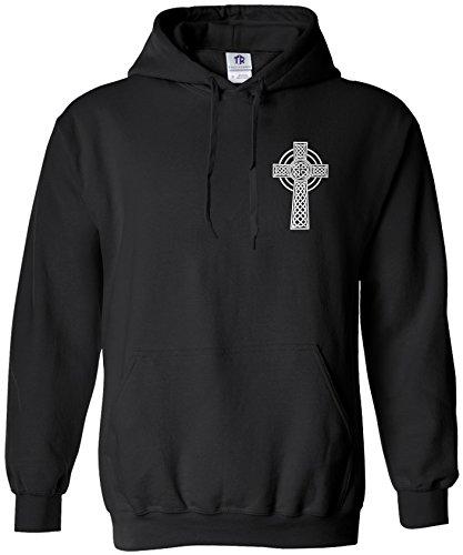Threadrock Men's Celtic Cross Chest Design Hoodie Sweatshirt L Black