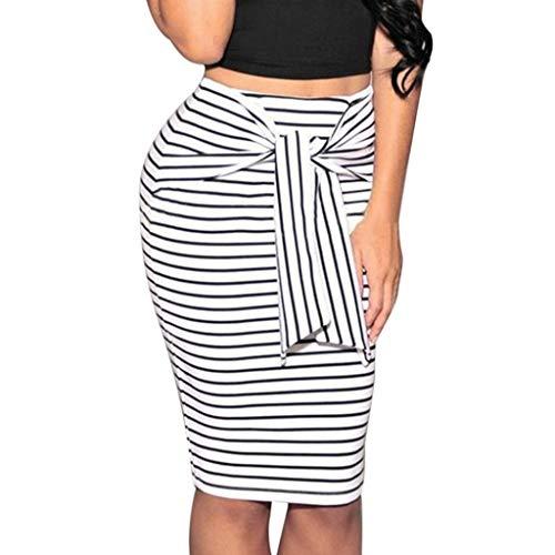 Striped Mini Skirts for Women Bow Tied Skirt Slim Short Pencil Skirt Knee Length