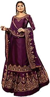 Women's Satin Georgette Fabric Heavy Embroidered and Diamond Work Lehenga Suit (LNF425, Wine, 50)