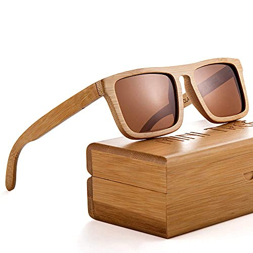 Mini Tree Gafas de sol de bambú clásicas polarizadas vintage para hombres mujeres de montaje completo UV405