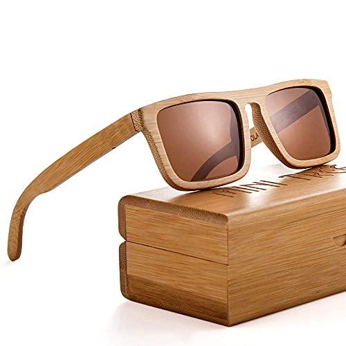 Mini Tree Gafas de sol de bambú clásicas polarizadas vintage para hombres/mujeres de montaje completo UV405