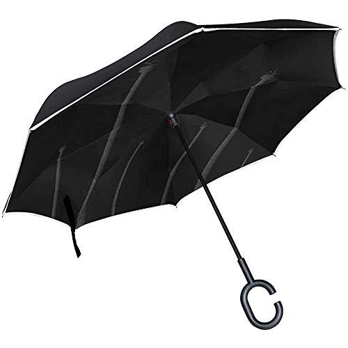 Alice Eva Umgekehrter Regenschirm-Schattenbild-Palme-Baum-Schattenbild-Einklebebuch-Regenschirme Umgekehrter faltender Regenschirm Großer gerader Regenschirm