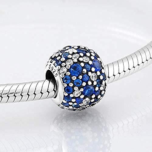 Zilveren bedels, echte 925 sterling zilveren bedel, blauw, witte, kleurrijke kralen, ronde vorm, kraal, passen, originele bedels, armband, sieraden maken, diy, beste cadeau, voor, meiden, tieners
