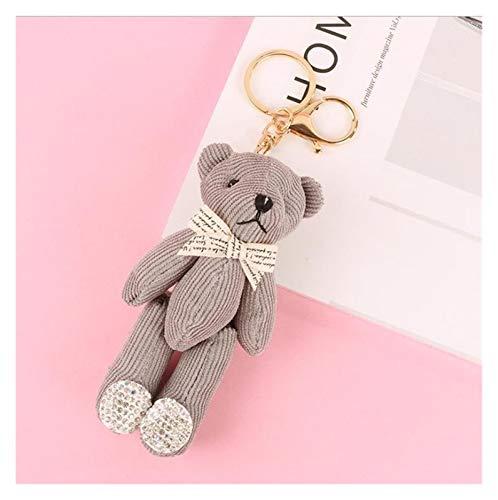 Yzymyd Key chain Cute Keychain Women Key Rings Fashion Pendant Teddy Bear Cartoon Car Bag Key Chains Accessories Charm Ornament (Color : Gray)