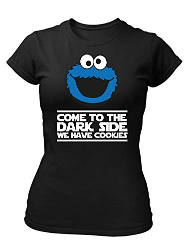 clothinx Come to The Dark Side - We Have Cookies - Lustiges Keks-Monster Motiv Damen T-Shirt Fit Schwarz Gr. M