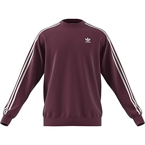 adidas 3-Stripes Crew Sweatshirt, Victory Crimson, L Mens