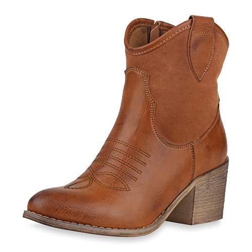 SCARPE VITA Damen Cowboy Boots Western Stiefeletten Blockabsatz Schuhe Leder-Optik Cowboystiefel Stickereien 180192 Hellbraun Stickereien 37