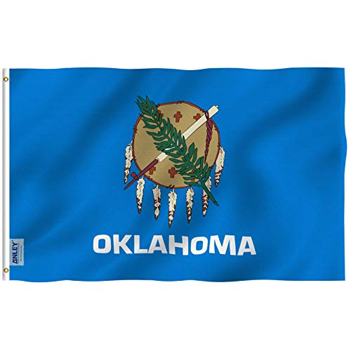 Anley Fly Breeze 3x5 Foot Oklahoma State Flag - Vivid Color and Fade Proof - Canvas Header and Double Stitched - Oklahoma OK Flags Polyester with Brass Grommets 3 X 5 Ft