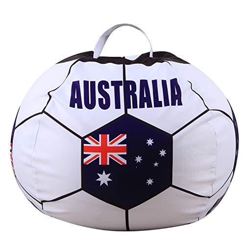 Youngshion Puf de lona con forma de fútbol mundial de 26 pulgadas, diseño de animales de peluche, banderas nacionales, para niños, de peluche, organizador, funda suave (Australia)