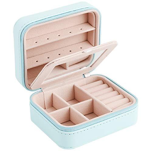 Preisvergleich Produktbild Good-one Reise-Schmuckschatulle. Mini-Reise-Aufbewahrungsbox für Schmuck,  Ring,  Halskette,  Kunstleder Ohrring Geschenk-Box für Mädchen,  blau,  11.5 * 9.5 * 6