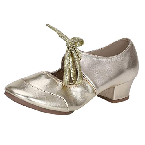 Damen Sandalen Tanzschuhe Sandalette Mary Jane Halbschuhe Pumps High Hesls Closed Toe Schnürhalbschuhe Sommer Outdoor Sandals Freizeitschuhe(1-Gold/Gold,37)