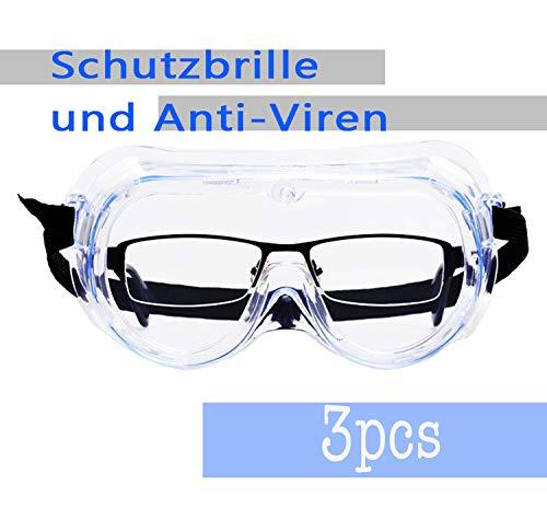CHLWER Schutzbrille, Anti-Spuck-Flüssigkeitsspritze, Kontaktlinsen, staubdicht, atmungsaktiv, Augenschutz, multifunktionale geschlossene Schutzbrille 3PCS …