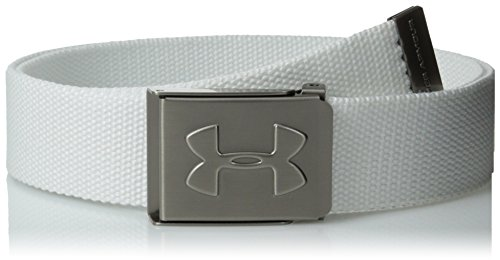 Under Armour Boys' Webbing Golf Belt, White (100)/Graphite, One Size Fits All