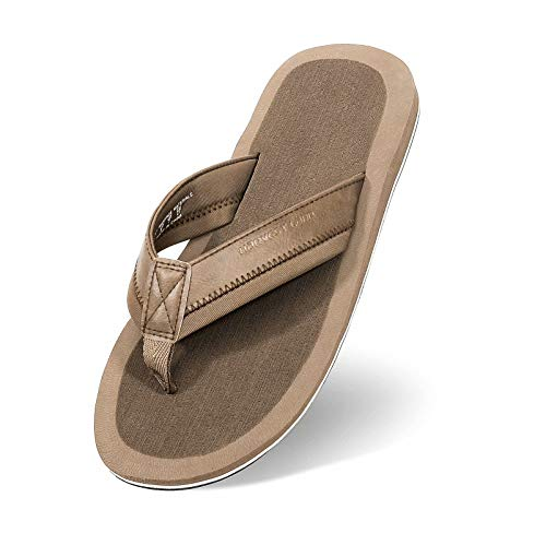 Mens Thong Sandals Beach/Pool Flip Flops Adults Comfy Arch Support Open Toe Summer Shoes for Big Youth,Brown,Size 9