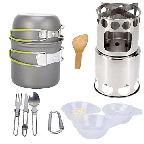 YepYes Juego De Utensilios De Acampada Acampar Pot Kit De Picnic Cocinar Aire Libre Se Pone con Vajilla De La Estufa por Mochilero Trekking Verde