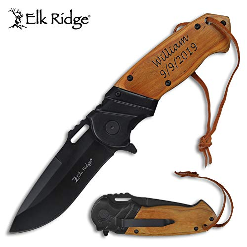 Elk Ridge Personalized Free Engraving - Quality Pocket Knife … (ER-A003LBB)