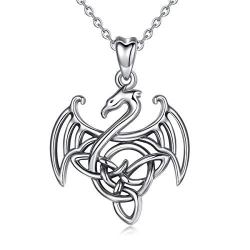 CELESTIA 925 Silber Drachen Kette für Frauen, Oxidiertes Sterling Silber Keltischer Knoten und Geflügelt Drachen Anhänger mit Kette 45.7CM, Symbolische Schmuck, Geschenk für Frauen Mädchen