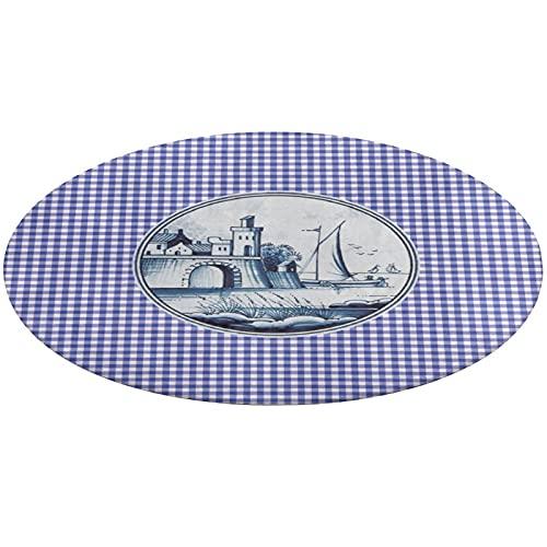 Alfombra redonda de baño de 24 pulgadas, alfombra antideslizante tradicional holandesa de azulejos azules, ultra suave, alfombrilla de baño para interior y exterior, alfombrilla absorbente para perro