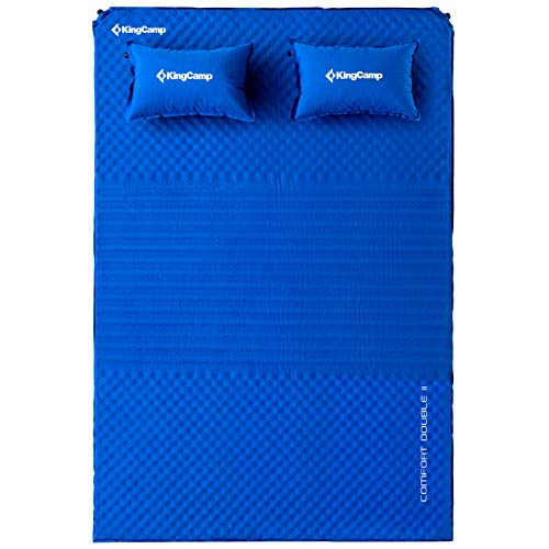 KingCamp Triple Zone Comfort Double Self Inflating 75D Micro Brushed Sleeping Pad with 2 Pillows (Cobalt Blue)