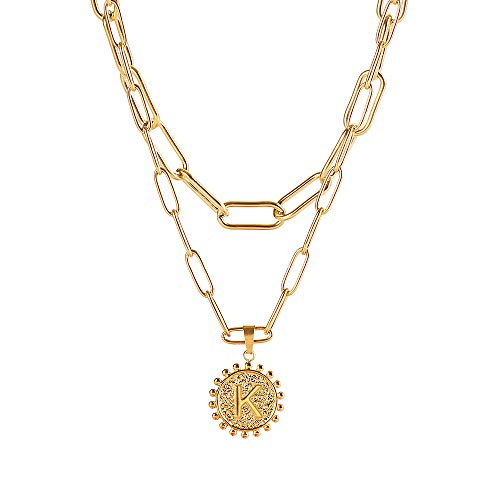 Joyería ajustable de la manera delicada inicial collares para las mujeres collar de la cadena del labio de papel collar en capas Collares colgantes de la moneda (K)