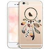 QULT Carcasa para Móvil Compatible con iPhone 6 Plus iPhone 6s Plus Funda Suave Transparente Slim Silicona Case con Dibujo Atrapasueños