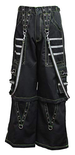 Dead Threads - Black Men's Trouser with Neon Yellow Stitching and Metal Rivets M/Neon Yellow