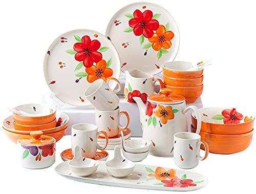 Juego de Platos, Conjunto de vajillas de 27 Piezas, Conjunto de Cena de cerámica de la Serie MEERSBURG, vajilla Establecida con Placas/Cuencos/Conjunto de café/Conjunto de té, combinación comple
