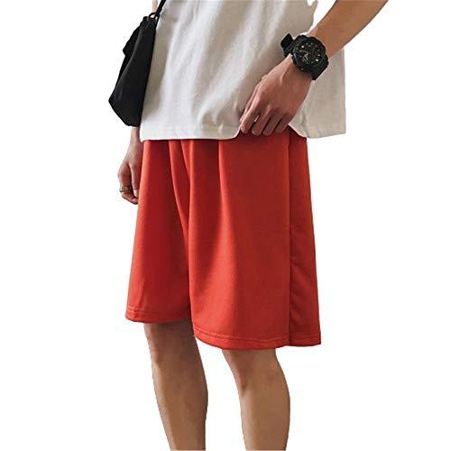 Shorts De Verano De 5 Puntos para Hombre En Color Liso Pantalones De Chándal Casuales con Cordón Atrevido Tejido De Poliéster Transpirable con Bolsillo