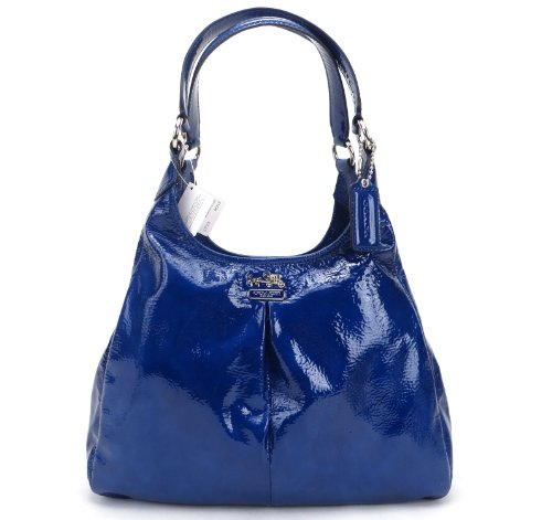 Hot Sale Coach Patent Leather Madison Maggie Hobo Handbag 21238 Ultramarine Blue
