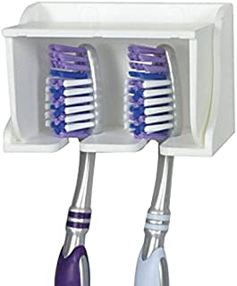 Camco 57203 White Pop-A-Toothbrush Wall Mounted Toothbrush Holder With Germ Protecting Cover