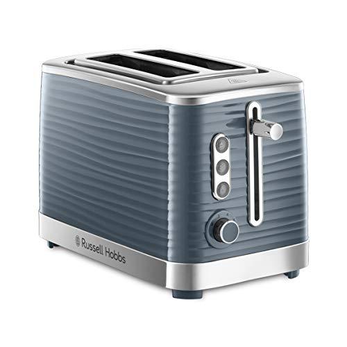Russell Hobbs Toaster Inspire grau, 2 extra breite Toastschlitze, inkl. Brötchenaufsatz, 6 einstellbare Bräunungsstufen + Auftaufunktion, 1050W, Hochglanz-Kunststoff 24373-56 [Amazon Exklusiv]
