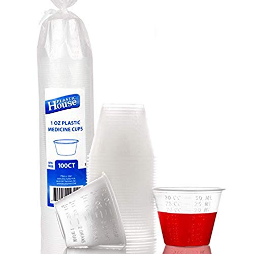 Plastic Disposable Medicine Cups | Heavy-Duty & Premium Quality Plastic Medicine Cup Disposable 1 oz | Excellent to Use for Epoxy Mix, Crafts, Taking Multiple Pills, More | 100 Count