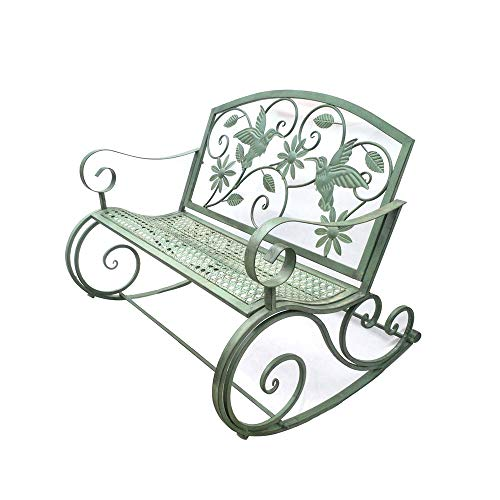 Outdoor Garden Double Rocking Chair, Retro Patio Decoration Leisure Seat Balcony Bench, Terrace Metal Bench With Backrest and Armrests, for Lawn/porch/deck