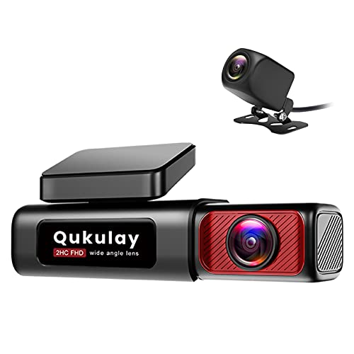 Qukulay 4K Dual Dash Cam with Built-in WiFi GPS, Front 4K Rear 1080P Dual Dash Camera Recorder for...