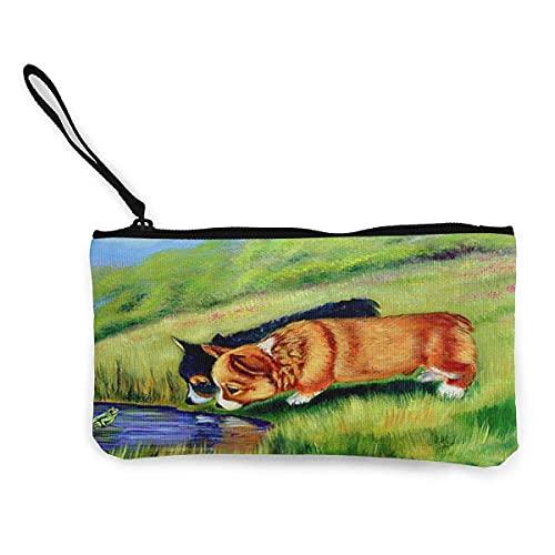 Meeting Mr. Frog Corgi Pups - Monedero de lona para viaje y maquillaje con mango, bolsa de lona con cremallera, bolsa de aseo portátil
