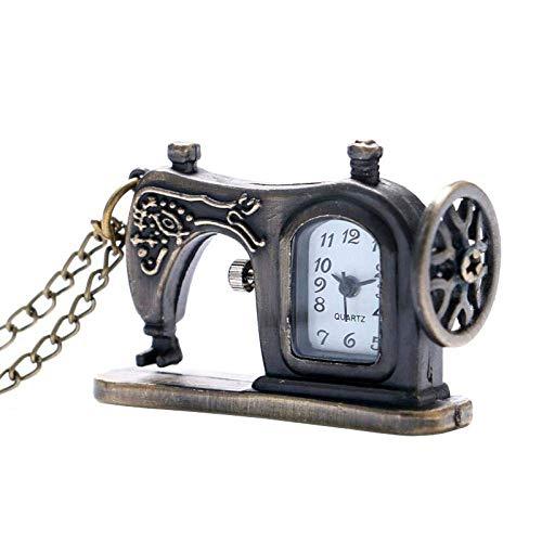 LXDDP Reloj de Bolsillo y Cadena Elegante máquina de Coser Reloj de Bolsillo Bronce Antiguo Steampunk Fob Reloj con Collar Cadena Regalo Popular