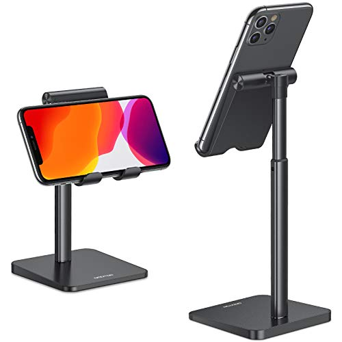 Cell Phone Stand, OMOTON Adjustable Angle Height Desk Phone Dock Holder for iPhone SE 2/11 / 11 Pro/XS Max/XR, Samsung Galaxy S20 / S10 / S9 / S8 and Other Phones (3.5-7.0-Inch), Black