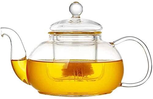 Tetera silbante Tetera Redonda Tetera Tetera Tetera de Vidrio con Filtro de Alta Temperatura Hogar Negro Té Herbal Tea Craft Tea Flower Tea 600ml WHLONG