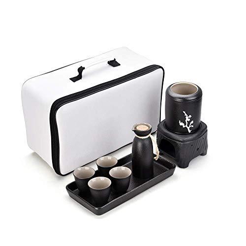 HJYSQX Juego de Sake japonés de 8 Piezas, Bodega Nacional, Enfriador de Vino de cerámica, Enfriador de Vino, Enfriador de Vino, Negro, Blanco