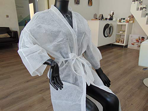 Kimonos Desechables Planethair Store® para Peluquería y Estética de 50 gramos, (Blanco, 100 unidades)