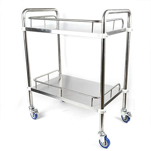 2 Layers Cart Trolley, Lab 2 Layers Lab Serving Cart Trolley Stainless Steel Serving Equipment with Silent Omnidirectional Wheel for Lab
